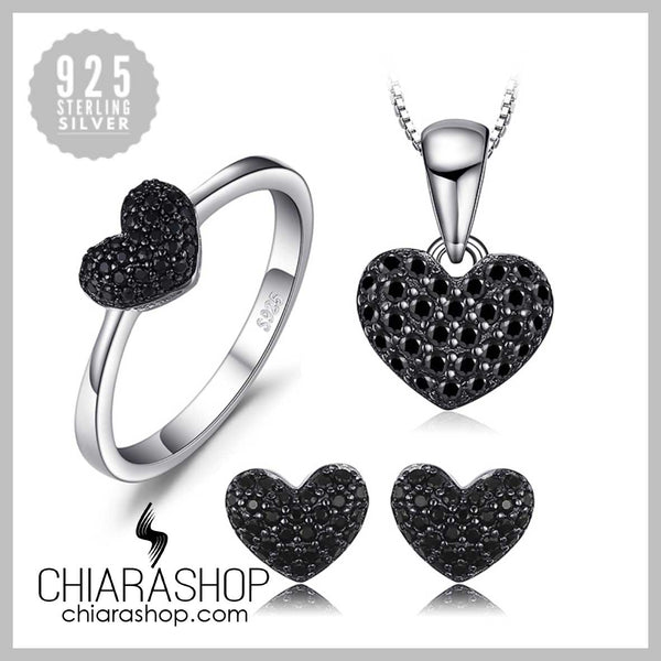 New Heart 0.8ct Charm Necklace, Ring and Earring 925 Sterling Silver Set