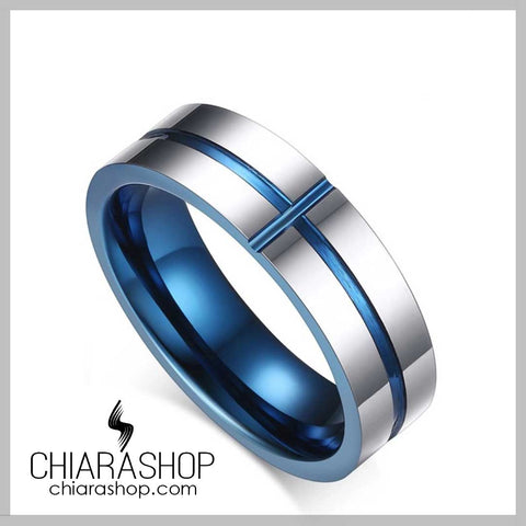 Elegant Stainless Steel Blue Cross Ring