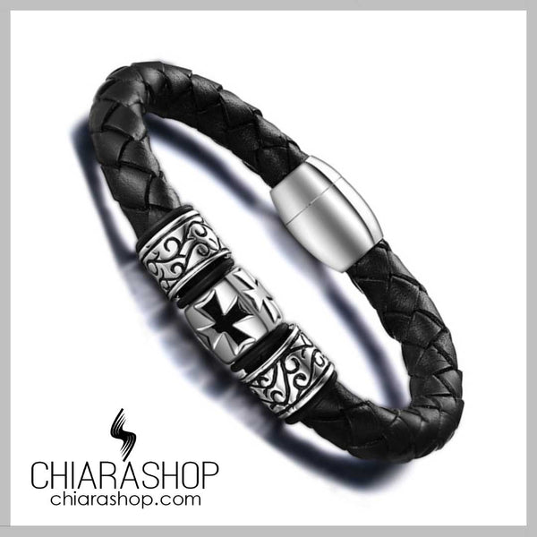 Fashion Man Vintage Braided Leather Stainless Steel Knight Cross Bracelet
