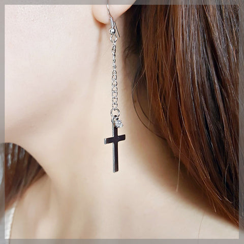 Fashion Silver Cross Chain Earring
