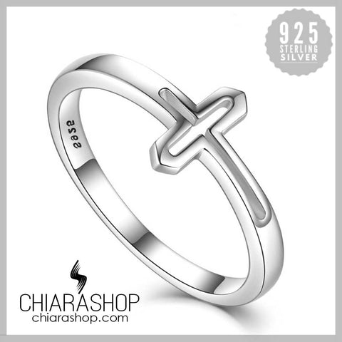 Luxury European 925 Sterling Silver Devout Woman Cross Ring