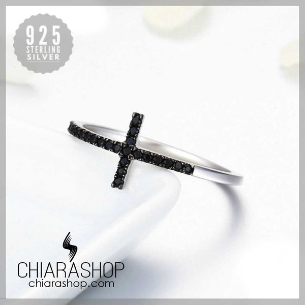 Pure 925 Sterling Silver Black Zirconia Stone Woman Cross Ring