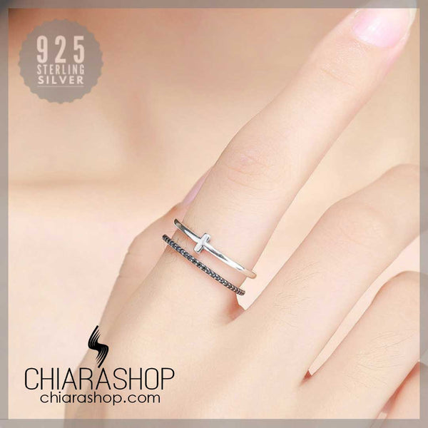 Resizable Authentic Real 925 Sterling Silver Trendy Woman Cross Ring