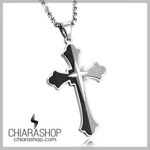 Luxury Black and Gray Stainless Steel Man Cross Necklace