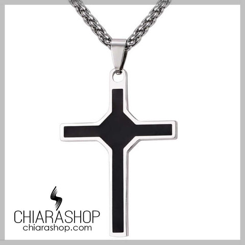 Black Color Premium Steinless Steel Men's Cross Necklace