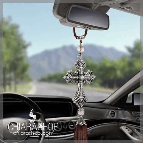 Metal and Crystal Jesus Cross Car Ornaments