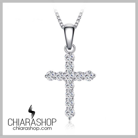 Charm 0.7Ct Cubic Zirconia 925 Sterling Silver Cross Pendant Necklace