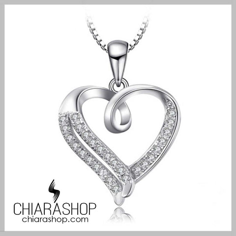Sweet Love Cubic Zirconia 925 Sterling Silver Heart Pendant Necklace