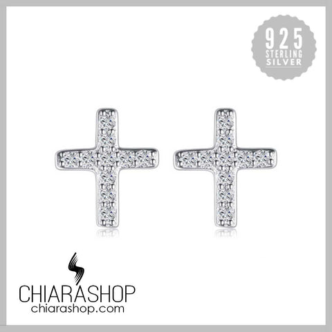 Elegant 0.1ct Cubic Zirconia 925 Sterling Silver Cross Stud Earring