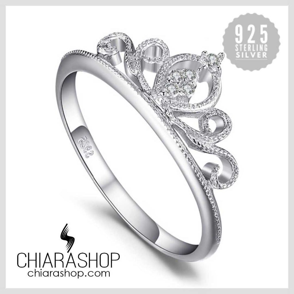 Charm Cubic Zirconia Round Crown Engagement 925 Sterling Silver Women Ring