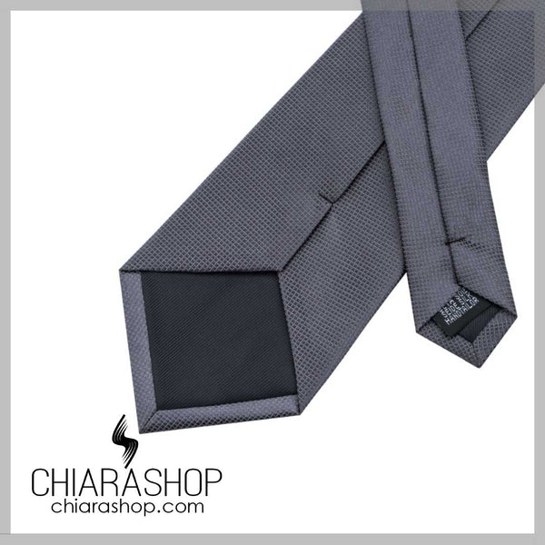 New 2018 Fashion 100% High Quality Silk Dark Grey Solid Men's Tie, Pocket Square and Cuff Link Set