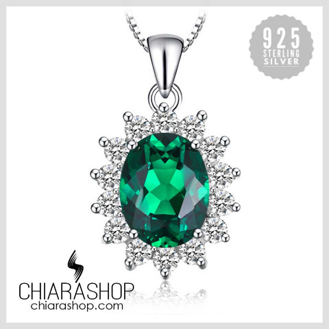 Princess Diana William Kate Middleton's 2.5ct Created Emerald 925 Sterling Sliver Pendant