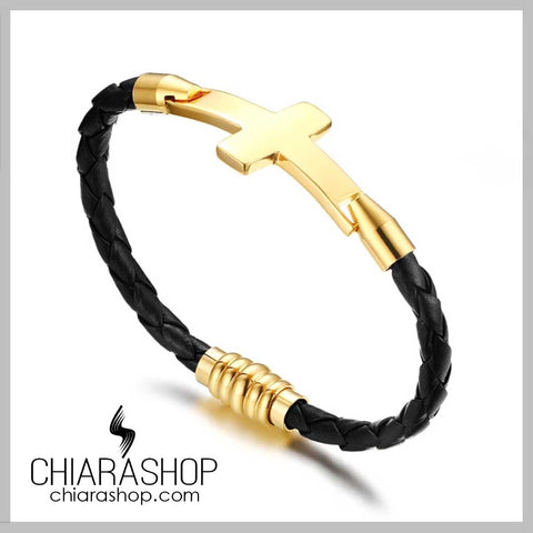 Exclusive Leather Gold Color Stainless Steel Cross Bracelet