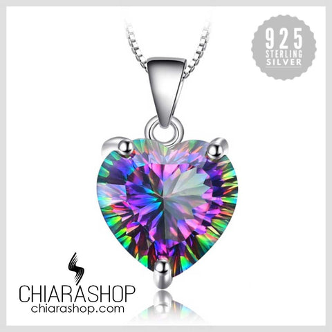 Vintage 4.35ct Genuine Rainbow Fire Topaz Heart Stone 925 Sterling Silver Pendant