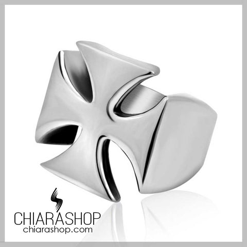 Classic Full Stainless Steel Knight Cross Ring