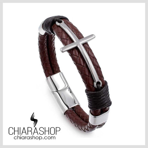 Chiarashop Trendy Vintage Brown Leather Stainless Steel Man Sporty Cross Bracelet