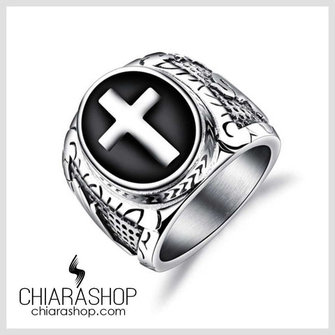 Chiarashop High Quality Stainless Steel Vintage Cross And Praying Hands Man Ring