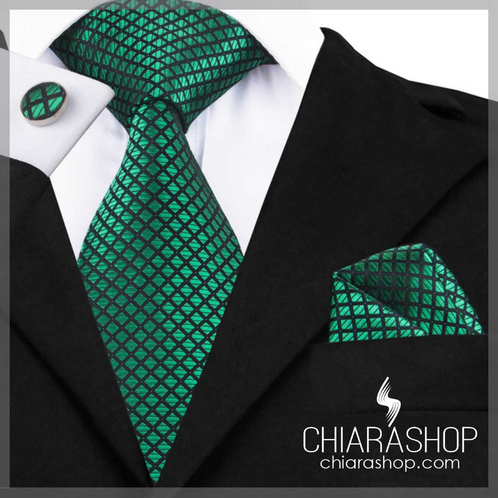 New 2018 Fashion 100% High Quality Silk Green Hanky Men's Tie, Pocket Square and Cuff Link Set