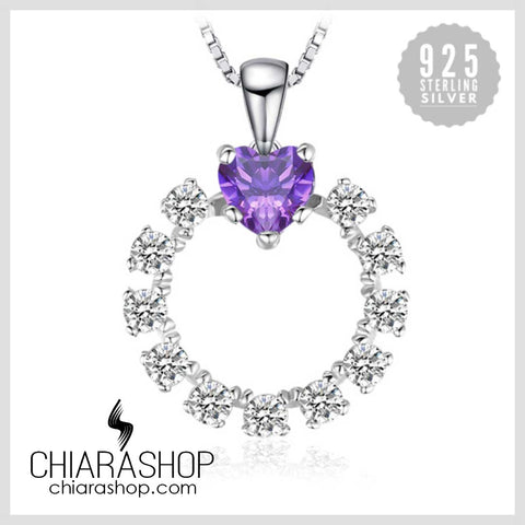 Charm Purple Heart 1ct Created Alexandrite Sapphire Pure 925 Sterling Sliver Pendant