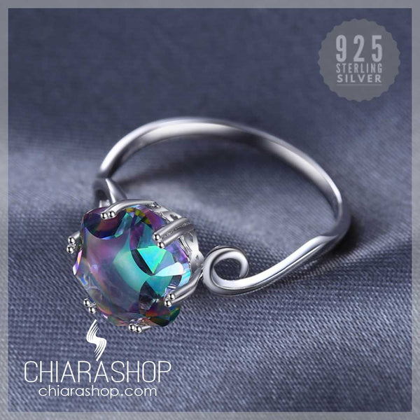 Lovely 3.2ct Genuine Rainbow Fire Topaz Solid 925 Sterling Silver Ring