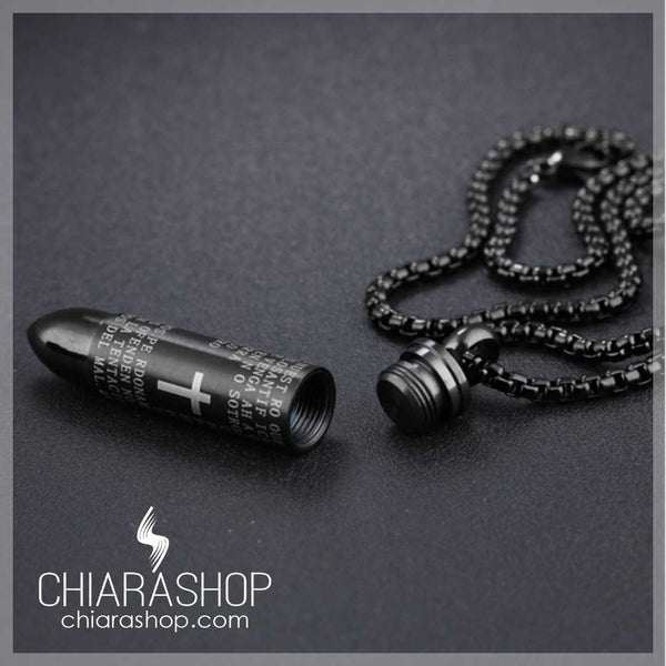 Our Father Prayer Stainless Steel Bullet Necklace