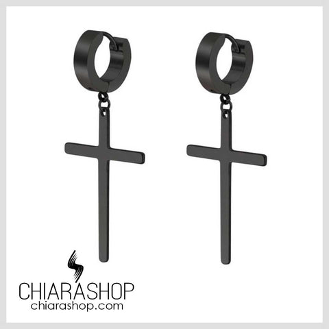 Chiarashop New Fashion 316L Black Stainless Steel Cross Drop Earring