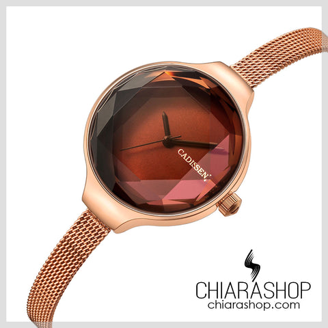 Cadisen Top Brand Fashion Exclusive Rose Gold Stainless Steel Woman Watch