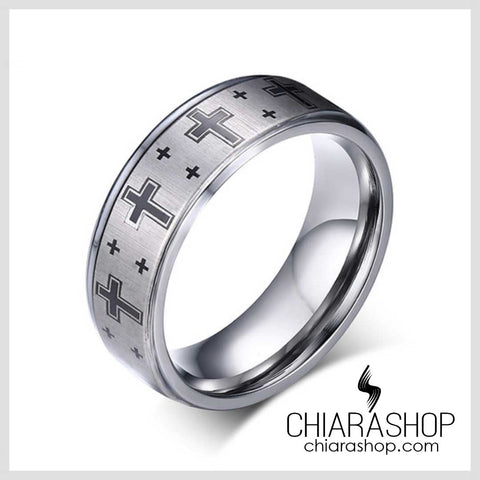 Chiarashop High Quality 8Mm 316L Stainless Steel Modern Black Cross Ring