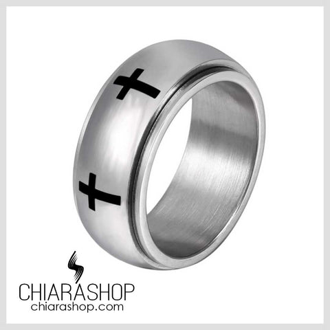 Chiarashop High Quality 316L Stainless Steel Elegant Rotatable Cross Ring