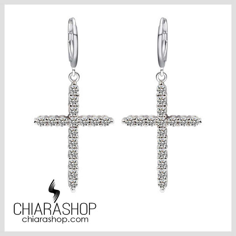 Chiarashop New Fashion Rhinestone Zirconia Cross Dangle Earring