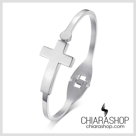 Full Stainless Steel Female's Cross Bracelet