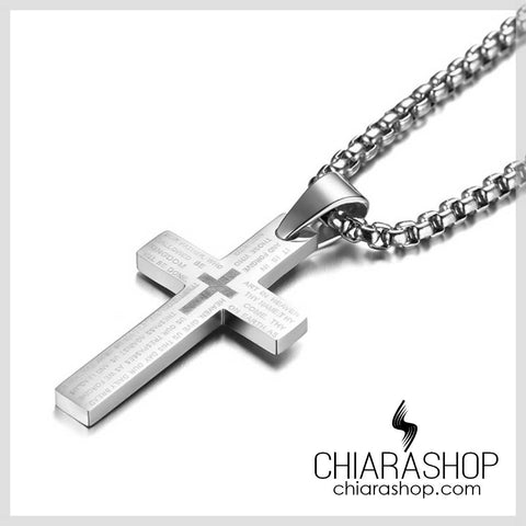 Chiarashop The Lord's Prayer Pendant Premium 316L Stainless Steel Silver Cross Necklace