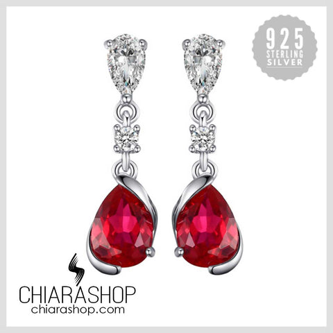 New Fashion 2.4ct Pear Red Created Ruby Drop Earrings 925 Sterling Silver