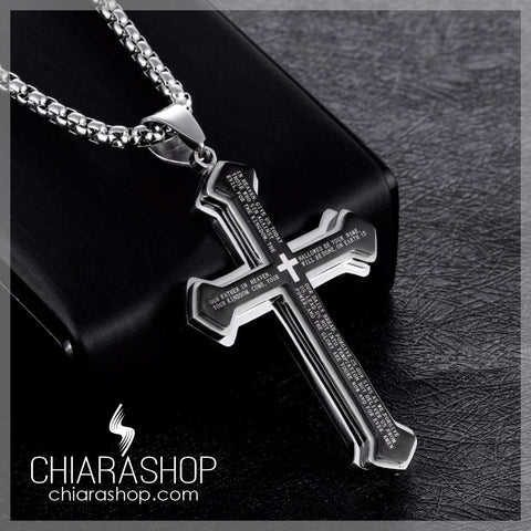 Chiarashop 316L Premium Stainless Steel Exclusive The Lord's Prayer Cross Necklace