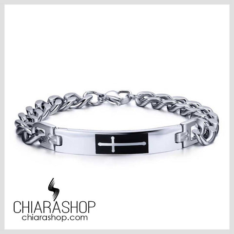 Chiarashop Full Premium Stainless Steel Charm White Cross Bracelet