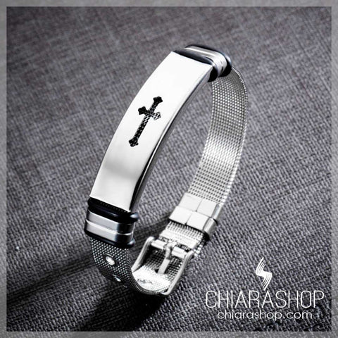 Chiarashop Elegant Premium 316L Stainless Steel Hollow Cross Bracelet
