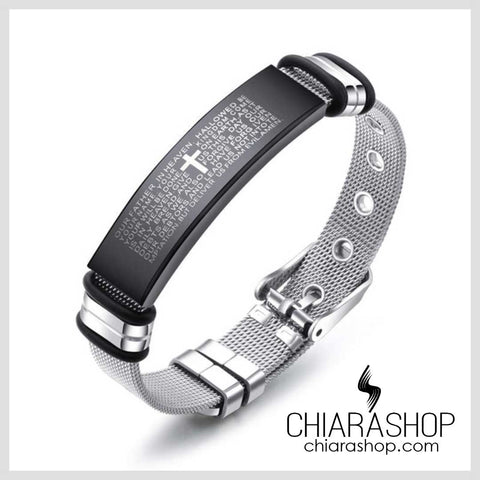 Chiarashop Elegant Premium 316L Stainless Steel The Lord's Prayer Cross Bracelet