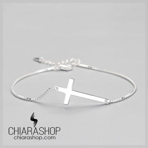Chiarashop 925 Sterling Silver Beautiful Silver Cross Woman Bracelet