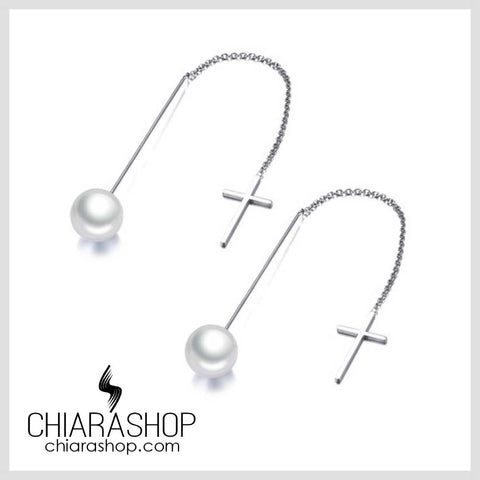 Chiarashop Elegant Stainless Steel Cross Simulated Pearl Drop Line Long Earring