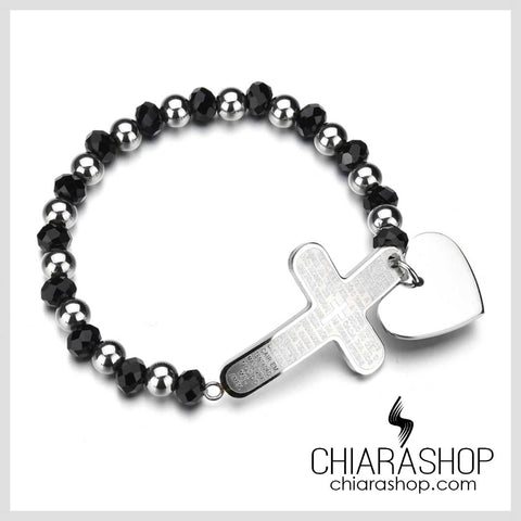 Chiarashop Acrylic Beads Stainless Steel The Lord's Prayer Cross Female Bracelet