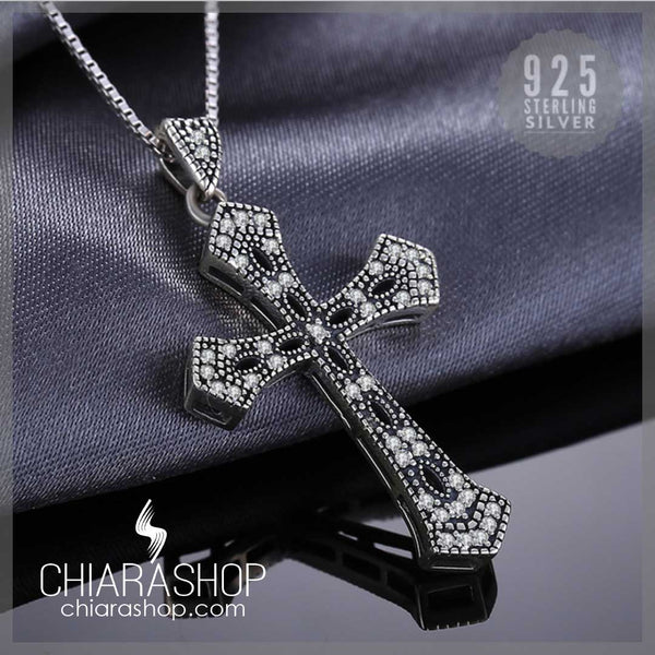 Charm 925 Sterling Silver Cubic Zirconia Woman Cross Necklace