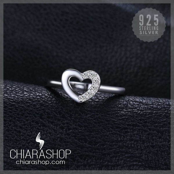 Cubic Zirconia Love Heart Wedding Engagement Ring 925 Sterling Silver Ring
