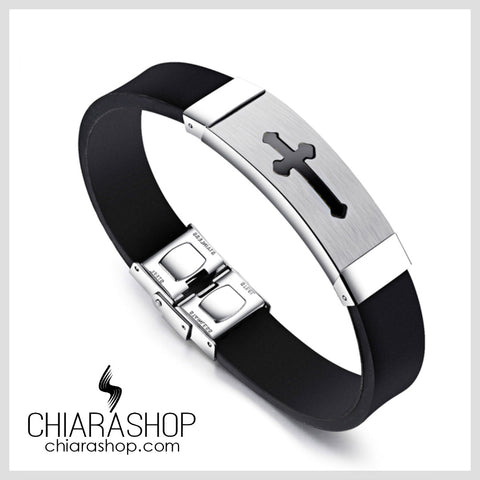 Businessman Black Silicone Silver Stainless Steel Simple Classic Cross Bracelet