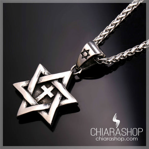 The Historic Star of David Premium Stainless Steel Cross Necklace