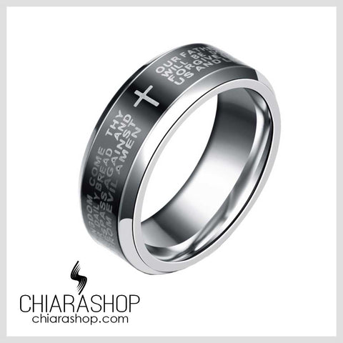 Chiarashop High Quality 316L Stainless Steel Rotatable The Lord's Prayer Cross Ring