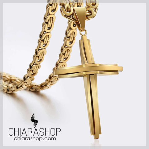 Chiarashop 316L Premium Stainless Steel Masculine Gold Color Cross Pendant Man Necklace