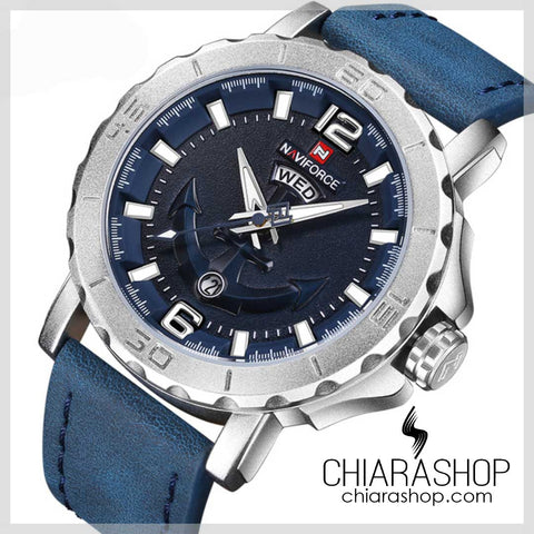 Genuine NAVIFORCE Luxury Brand Men Sport Army Style Blue Leather Strap Watch