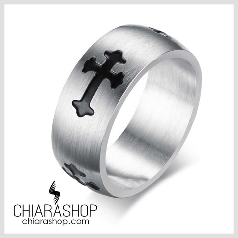 Chiarashop High Quality 8Mm 316L Stainless Steel Classic Black Cross Ring