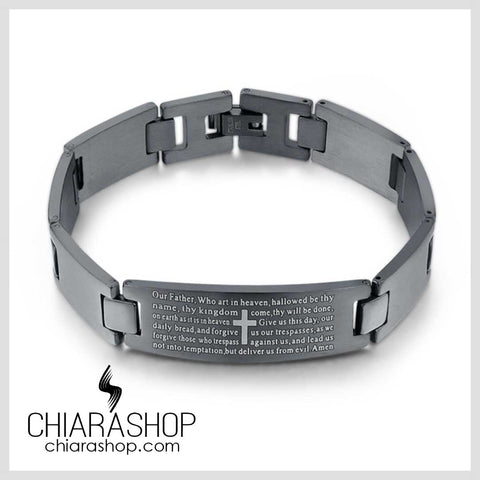 Chiarashop New Trendy Premium Stainless Steel The Lord's Prayer Cross Bracelet