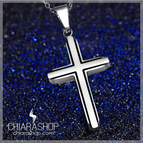 Chiarashop Elegant Stainless Steel With Black Edge Cross Necklace